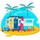 Tropical Sunset. Travel Trailer Caravans. Surfing