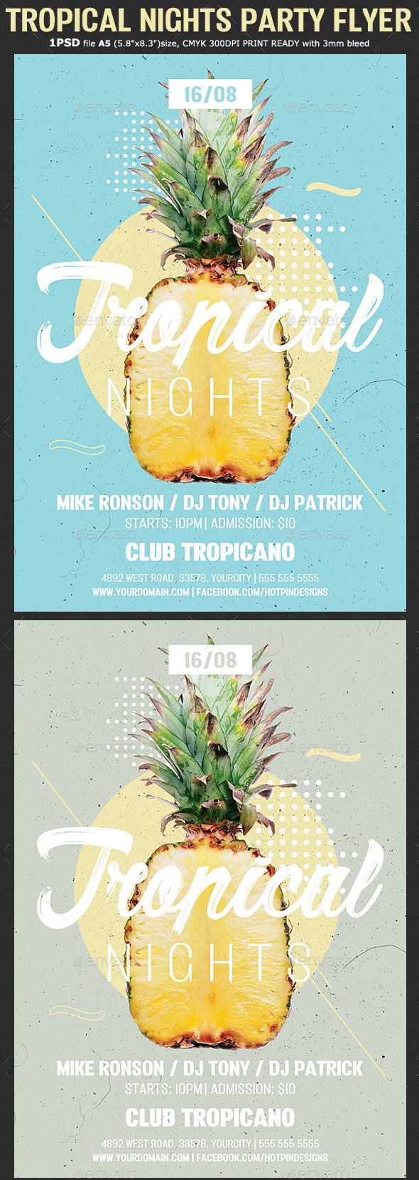 Tropical Nights Summer Psd Flyer - Clubs & Parties Events