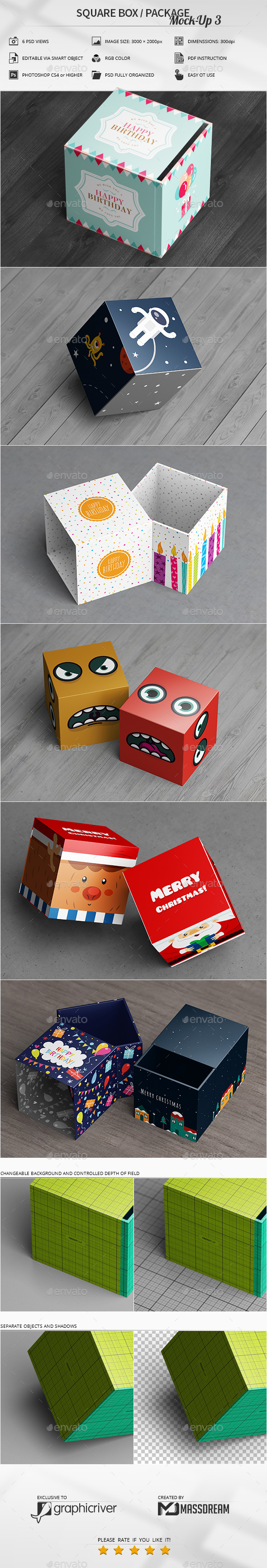 Square Box / Package Mock-Up 3 - Miscellaneous Packaging