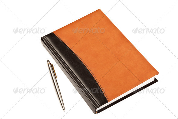 Diary and pen on table isolated - Stock Photo - Images
