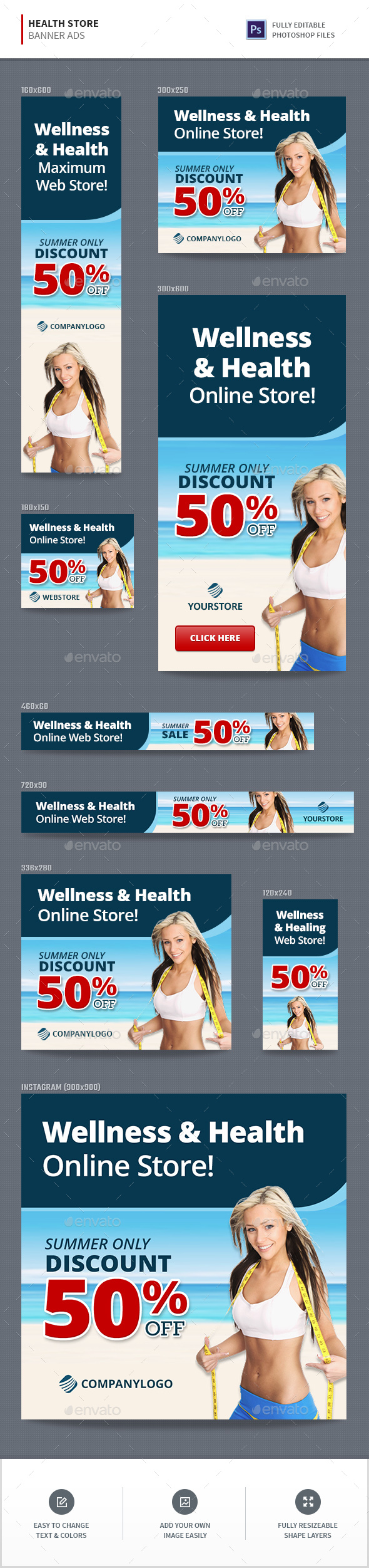 Health Store Banners - Banners & Ads Web Elements