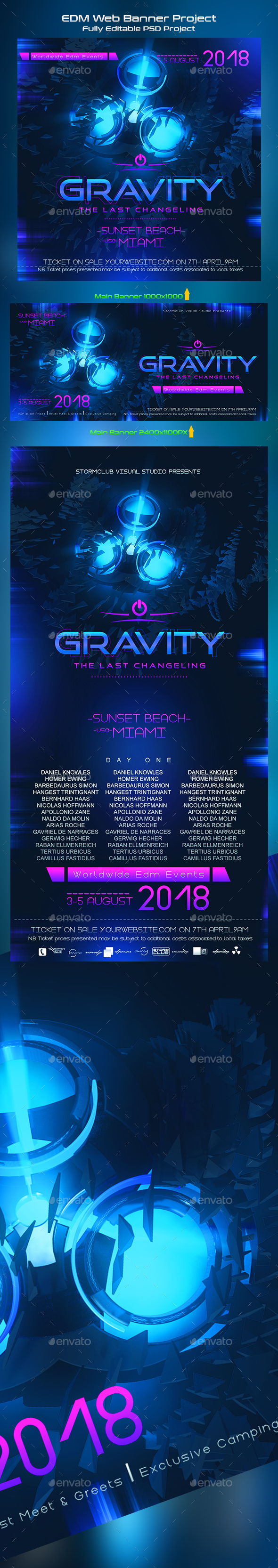 Gravity EDM Banner Template - Banners & Ads Web Elements