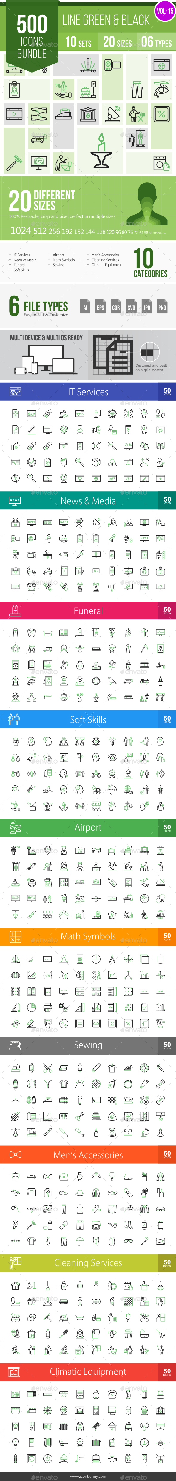 500 Vector Green & Black Line Icons Bundle (Vol-15) - Icons
