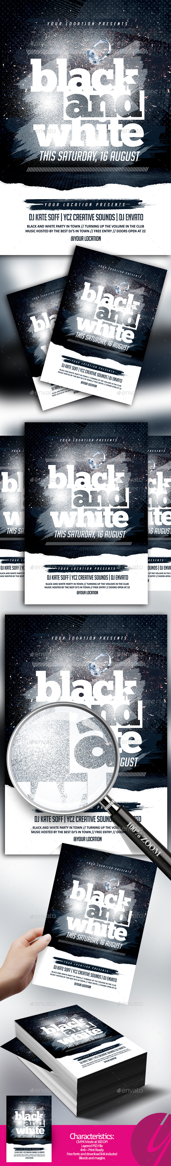 Black and White Party Flyer - Clubs & Parties Events