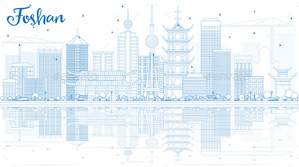 Outline Foshan Skyline with Blue Buildings and Reflections. - Buildings Objects
