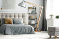 Wooden decor in grey room