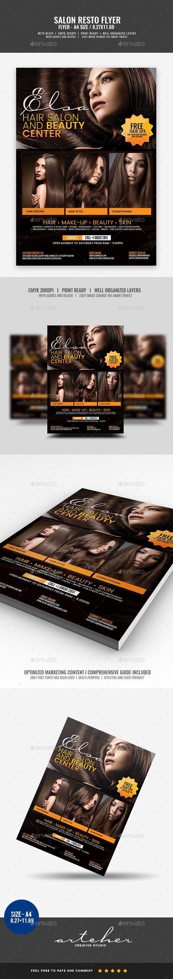 Hair Salon Flyer - Flyers Print Templates