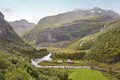 Norwegian mountain landscape with valley. Tourism. Horizontal. Flam railway route