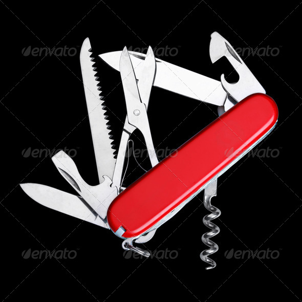 Swiss army knife isolated - Stock Photo - Images