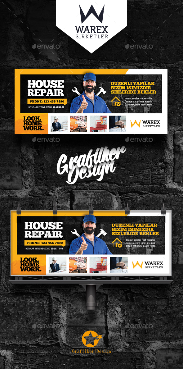 House Repair Billboard Templates - Signage Print Templates