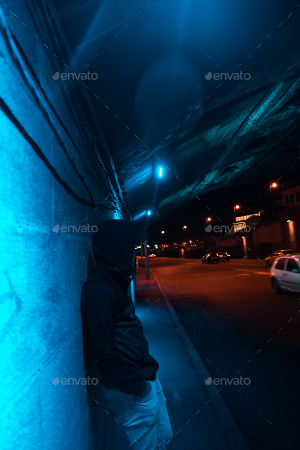 Man under the bridge - Stock Photo - Images