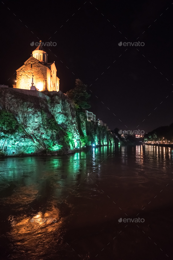 Evening view of Tbilisi and the Kura river at dusk - Stock Photo - Images