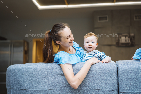Mom and the little son are having fun - Stock Photo - Images
