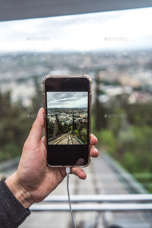 View from funicular on a direct rail, Tbilisi - Stock Photo - Images