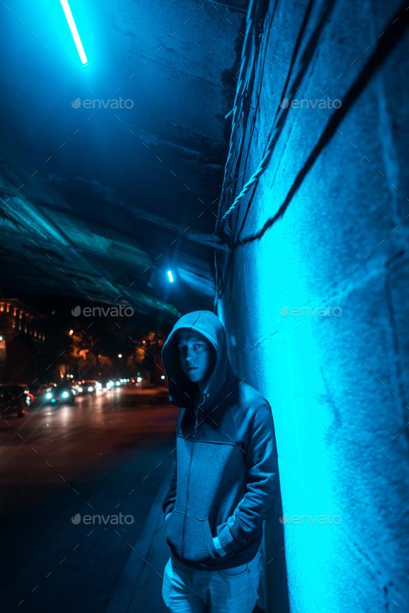 Man under the bridge - Stock Photo - Images