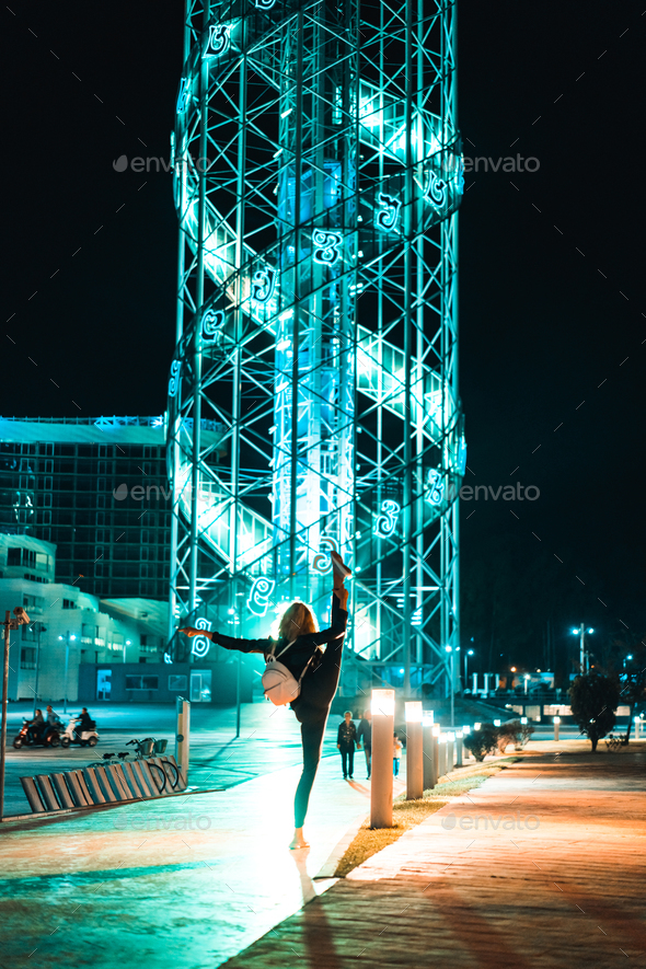 Girl in the background of the Tbilisi. - Stock Photo - Images