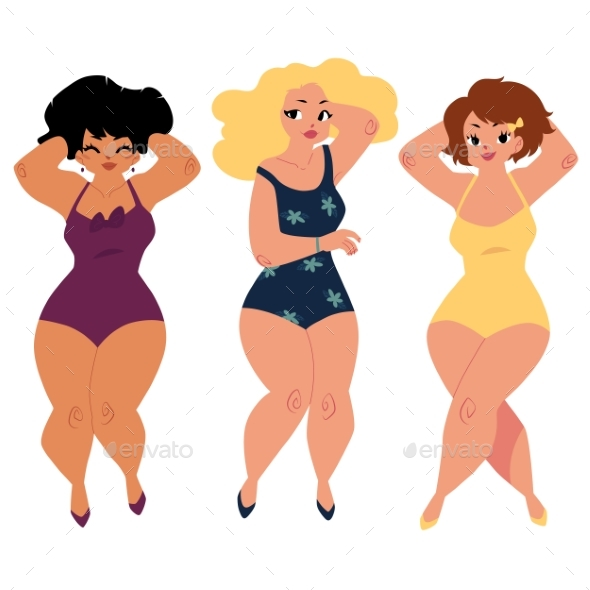 Plump, Curvy Women, Girls, Plus Size Models - People Characters