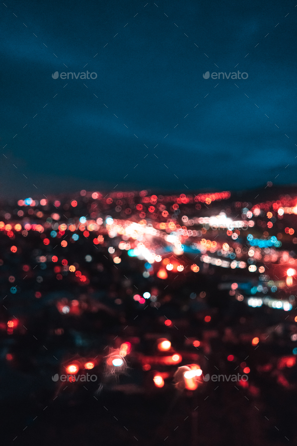 Blurred focus of big city - Stock Photo - Images