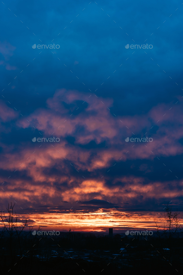 Sunset sky background. - Stock Photo - Images