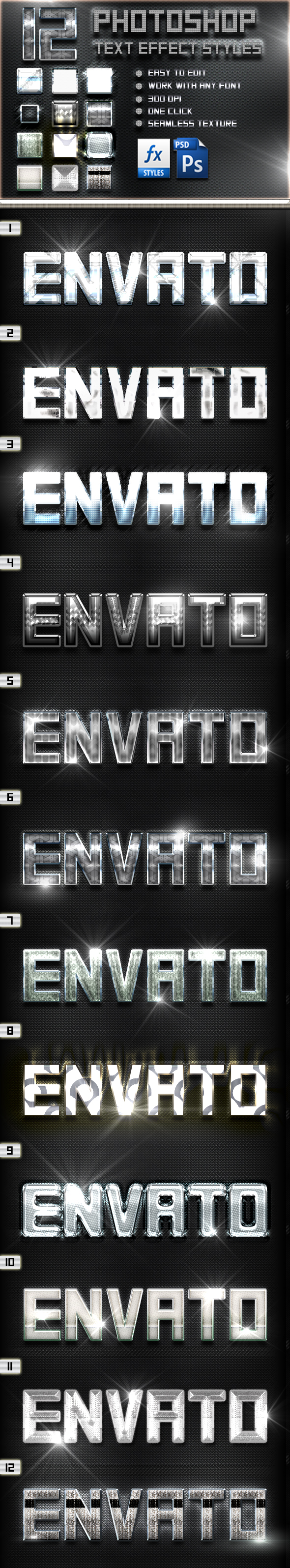 12 Photoshop Chrome Text Effect Styles Vol 36 - Text Effects Styles