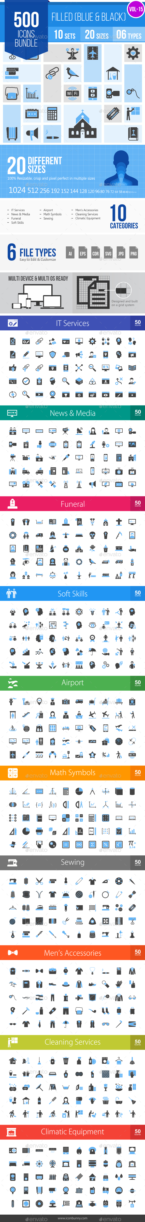 500 Vector Blue & Black Filled Icons Bundle (Vol-15) - Icons