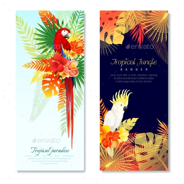 Tropical Parrots Vertical Banners - Animals Characters