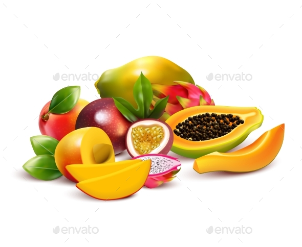 Fruity Tropical Bunch Composition - Food Objects