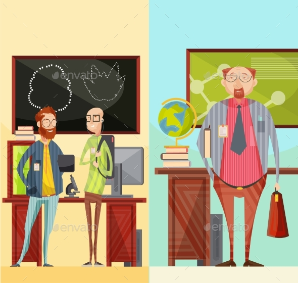 Teachers Vertical Retro Banners - Miscellaneous Vectors