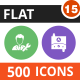 500 Vector Colorful Round Flat Icons Bundle (Vol-15)