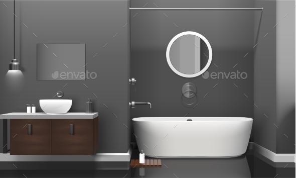 Modern Realistic Bathroom Interior Design - Objects Vectors
