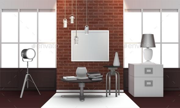 Realistic Loft Interior - Objects Vectors