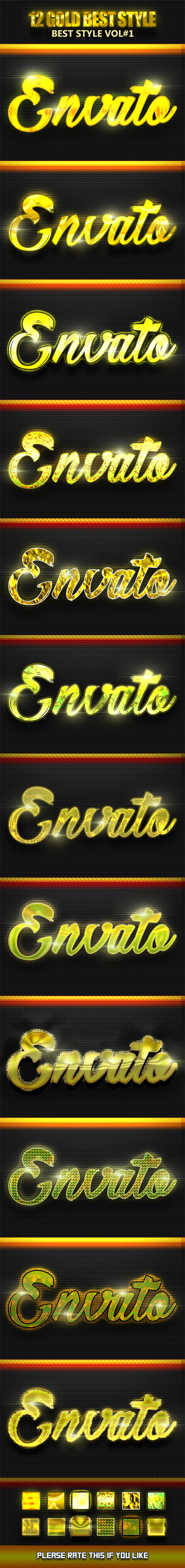 12 Gold Best Style Vol1 - Text Effects Actions