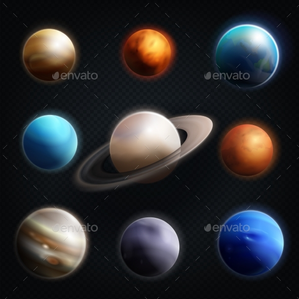Planet Realistic Icon Set - Objects Vectors