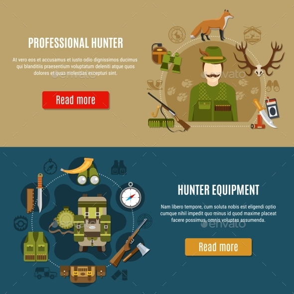 Hunting Equipment Banners Set - Sports/Activity Conceptual