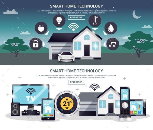 Colored Smart Home Banner Set - Technology Conceptual