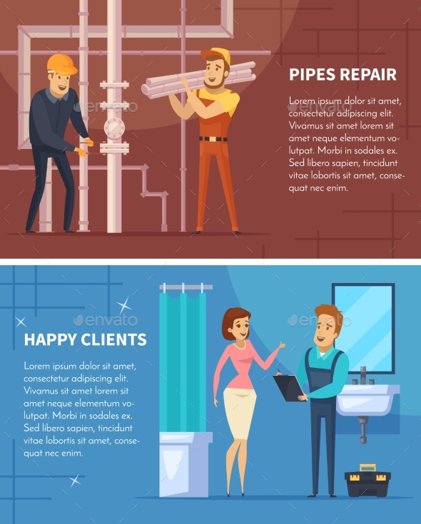 Plumber Flat Horizontal Banners - Backgrounds Decorative