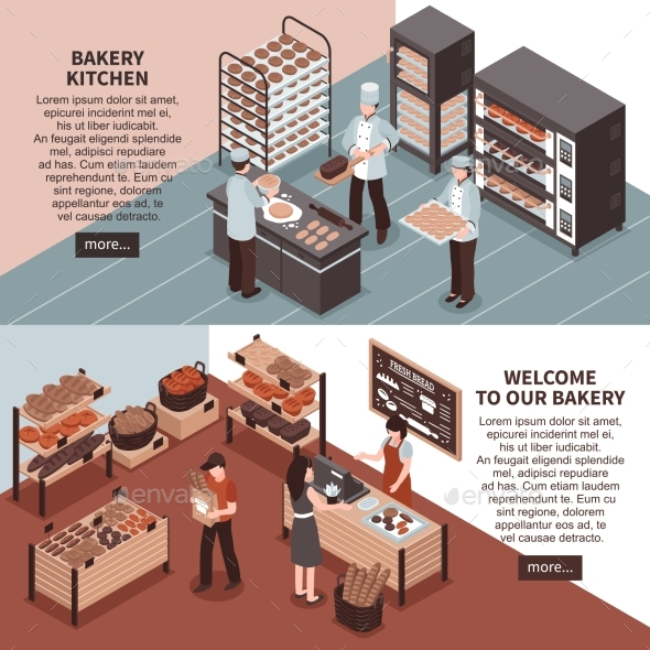 Bakery Kitchen And Bakery Store Isometric Banners - Backgrounds Decorative