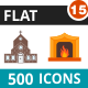 500 Vector Colorful Flat Icons Bundle (Vol-15)