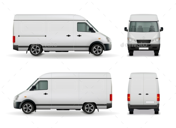 Realistic Cargo Van Advertising Mockup - Business Conceptual