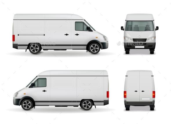 Realistic Cargo Van Advertising Mockup - Business Conceptual