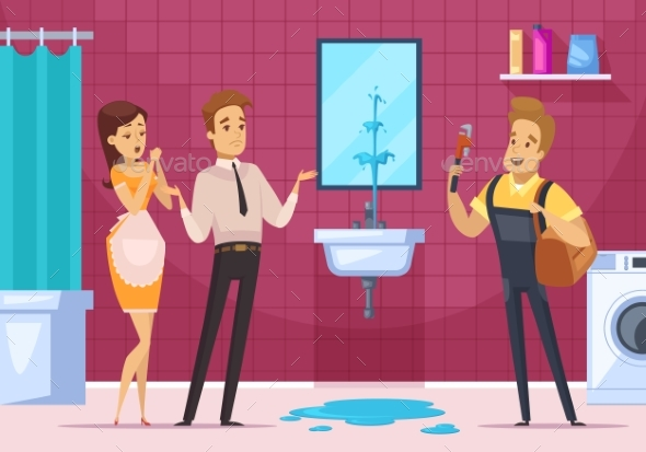 Plumber And Family Couple In Bathroom Interior - Miscellaneous Vectors