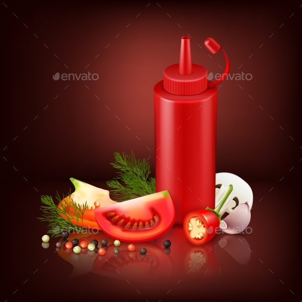 Realistic Background With Red Plastic Bottle - Food Objects