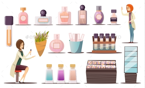 Perfume Shop Icon Set - Man-made Objects Objects