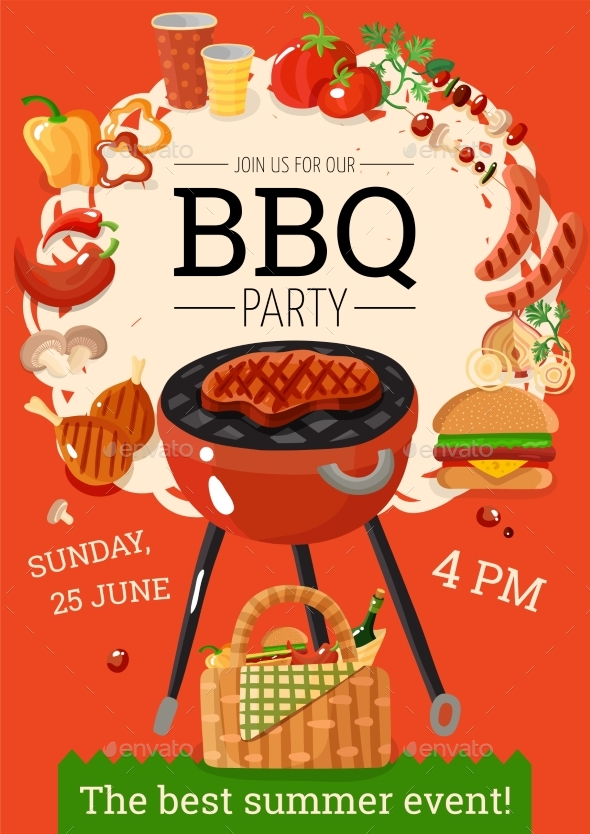 BBQ Barbecue Party Announcement Poster - Food Objects