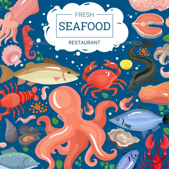 Fresh Seafood Restaurant Background - Animals Characters