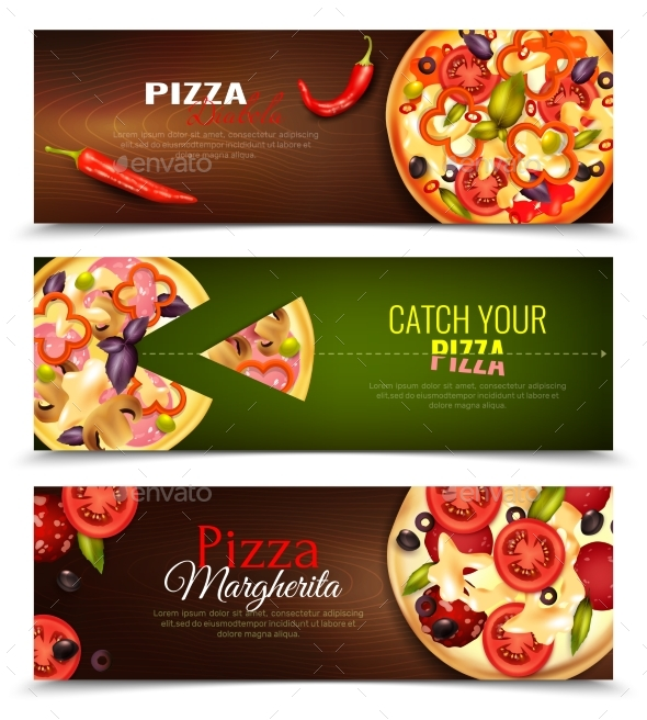 Pizza Horizontal Banners Set - Food Objects