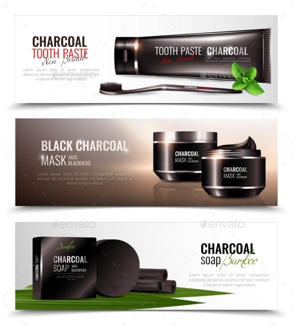 Charcoal Cosmetics Banners Set - Health/Medicine Conceptual