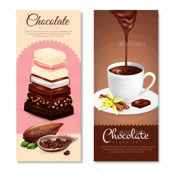 Chocolate Vertical Banners Set - Objects Vectors