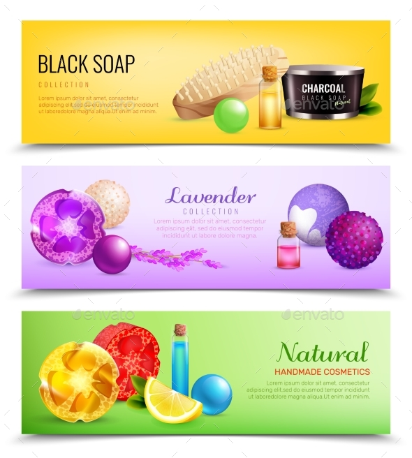 Fragrant Soap Banners Collection - Miscellaneous Vectors