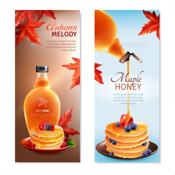Maple Syrup Vertical Banners Set - Food Objects